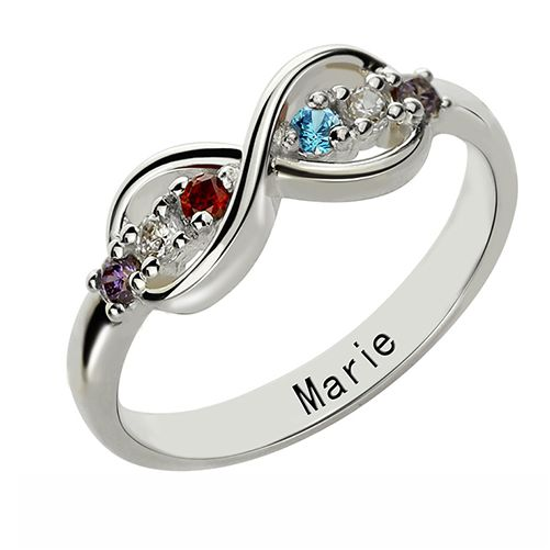 Personalized Birthstone Infinity Ring For Her