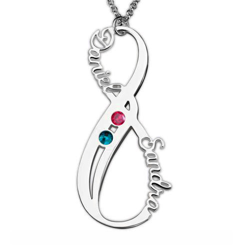 Birthstone Infinity Necklace Double Name