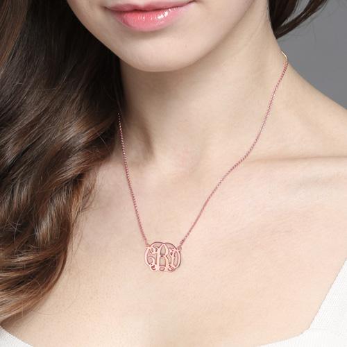 Celebrity Monogram Necklace In Rose Gold