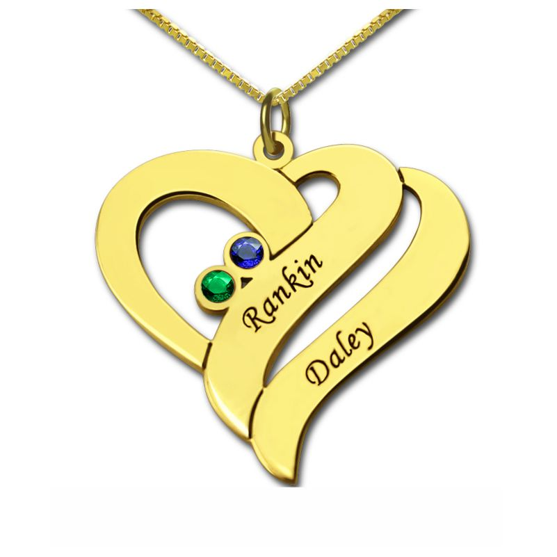 Two Hearts Forever Necklace 18k Gold Plated