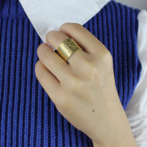 Script Monogram Cuff Ring Gifts 18K Gold Plated
