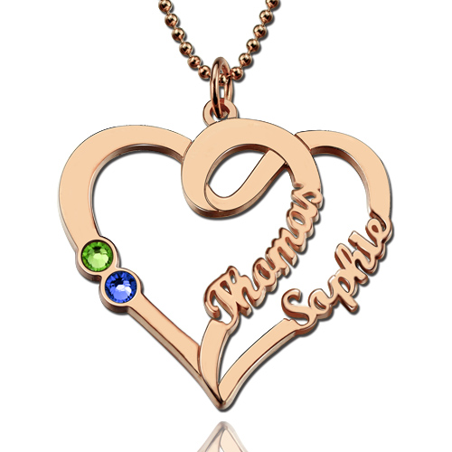 Couple Heart Necklace In Rose Gold