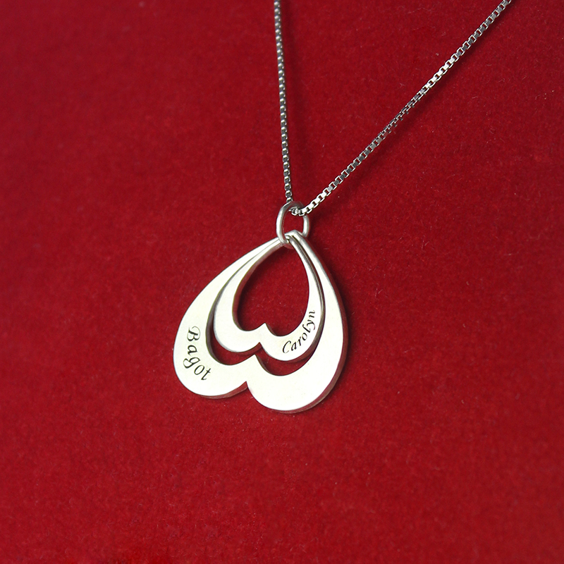 Double Heart Pendant For Her Sterling Silver