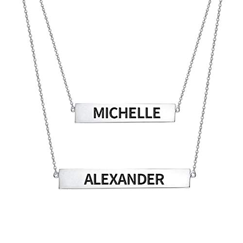 Engraved Name Bar Set Necklace In Sterling Silver
