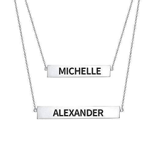 Engraved Name Bar Set Necklace In Sterling Silver