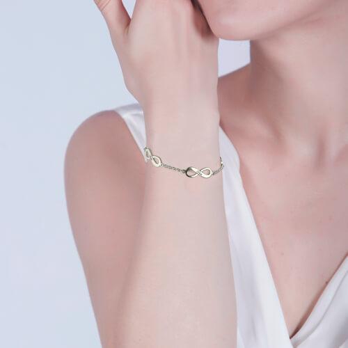 Infinity Mother's Bracelet Sterling Silver