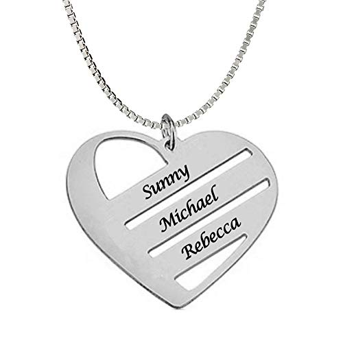 Classic Mothers Heart Necklace in Sterling Silver