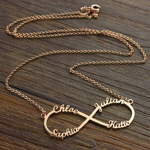 Infinity Necklace 4 Names Rose Gold Plated