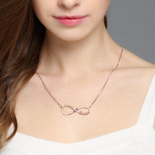 Infinity Name Birthstone Necklace - Rose Gold
