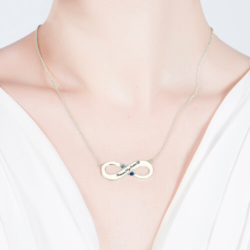 Engraved Infinity Necklace - Two Birthstones