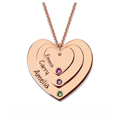 Triple Heart Necklace With Birthstones In Rose Gold