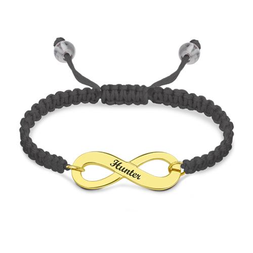 Engraved Infinity Symbol Cord Bracelet