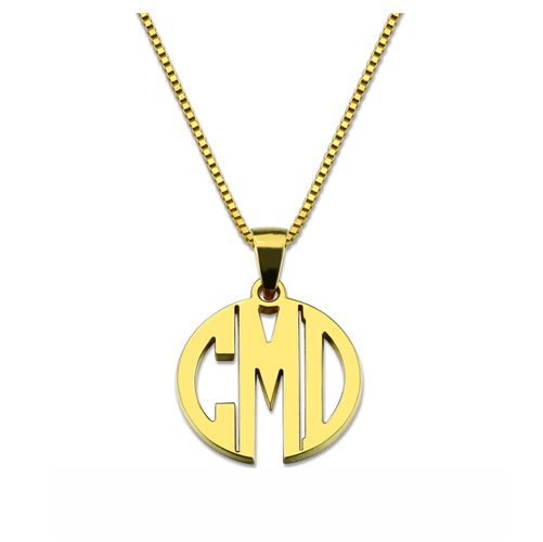 Custom Block Monogram Necklace Gold Plated Silver