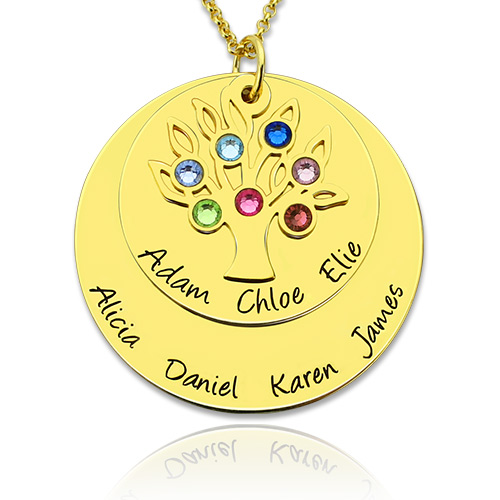 Grandma's Disc Family Tree Necklace