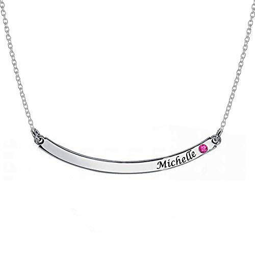 Personalized Silver Curved Bar Necklace with Birthstone