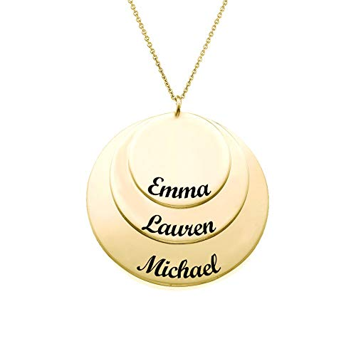Engraved Rings Necklace 18k Gold Plated