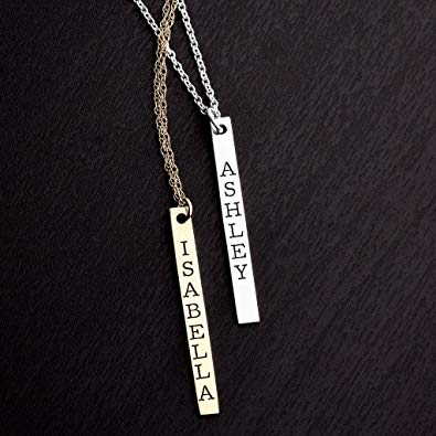 Vertical Classic Bar Name Necklace in Silver