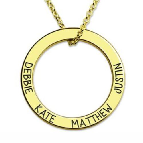 Names Hoop Family Necklace Gold Plated