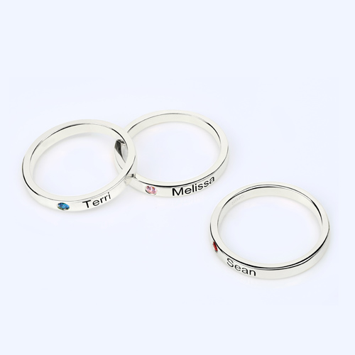 Mother's Stackable Name Ring With Birthstone