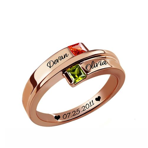 Double Square Birthstone Rings In Rose Gold