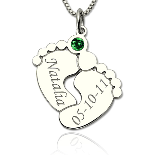 Baby Feet Necklace with Birthstone