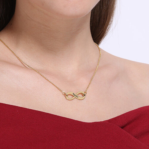 Engraved Infinity Name Necklace - Gold Plated