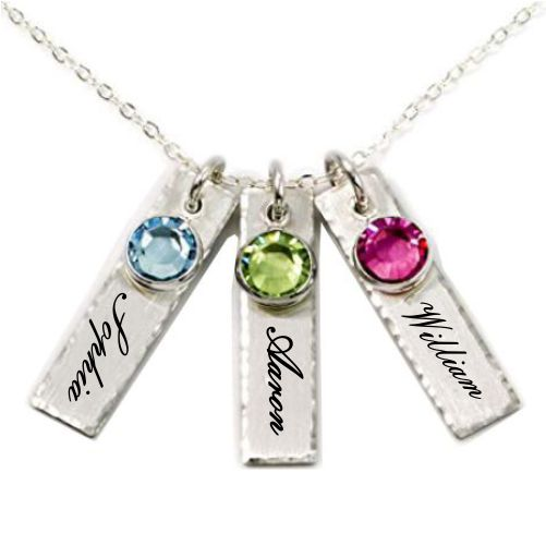 Triple Bar Necklace With Birthstones