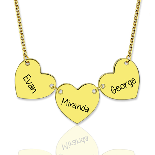 Custom Engraved Heart Necklace Gold Plated