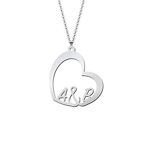 Initial Heart Necklace Sterling Silver
