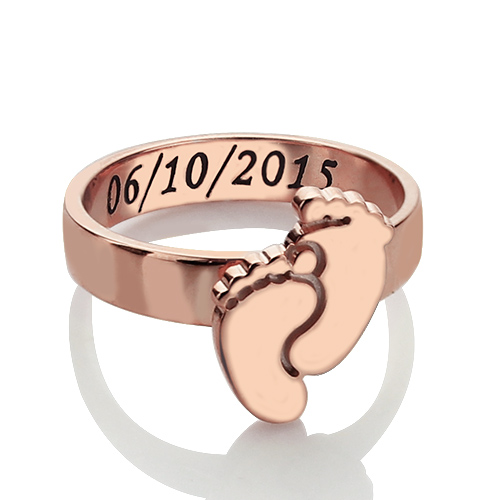 Engraved Baby Feet Ring For Mom In Rose Gold