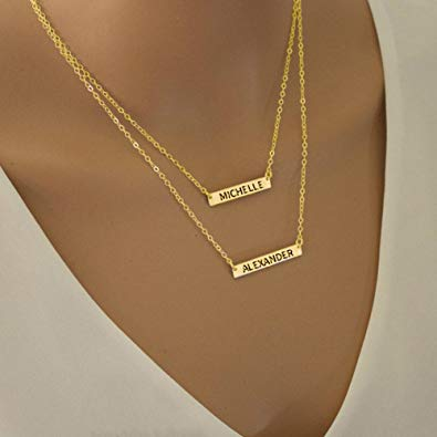 Engraved Bar Necklace Set In Rose Gold