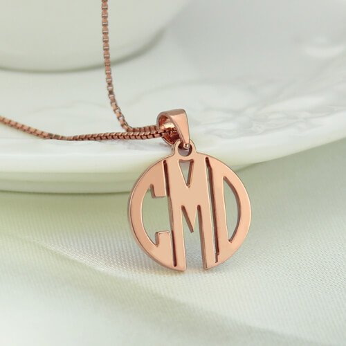 Custom Block Monogram Necklace In Rose Gold