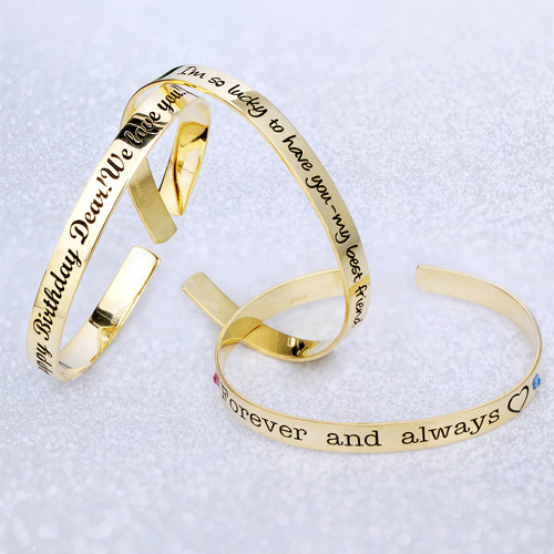 Engraved Bangle With Birthstones Gold