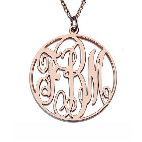 Vine Font Circle Initial Monogram Necklace