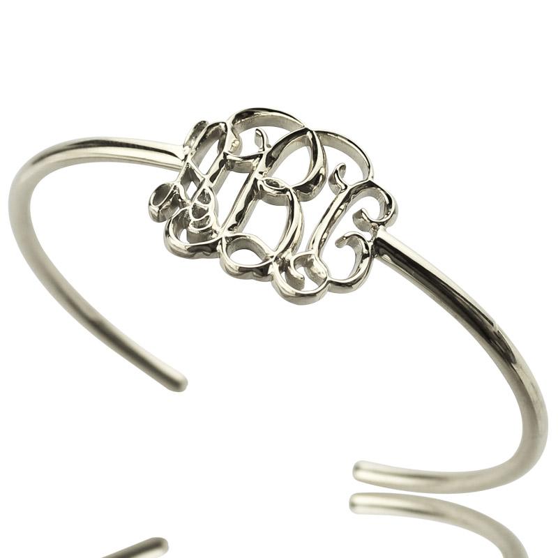 Celebrity Initial Bangle Bracelet Sterling Silver