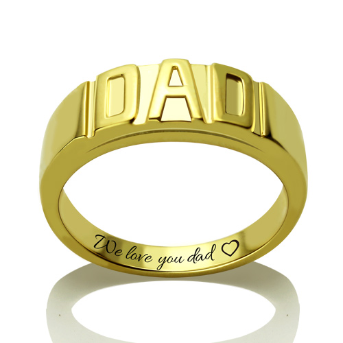 Personalized Men's DAD Ring Gold Plated Silver