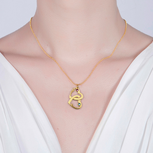 Heart in Heart Name Necklace Gold Plated Silver