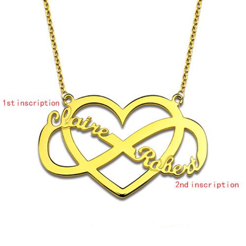 Infinity and Heart Name Necklace Gold Plated