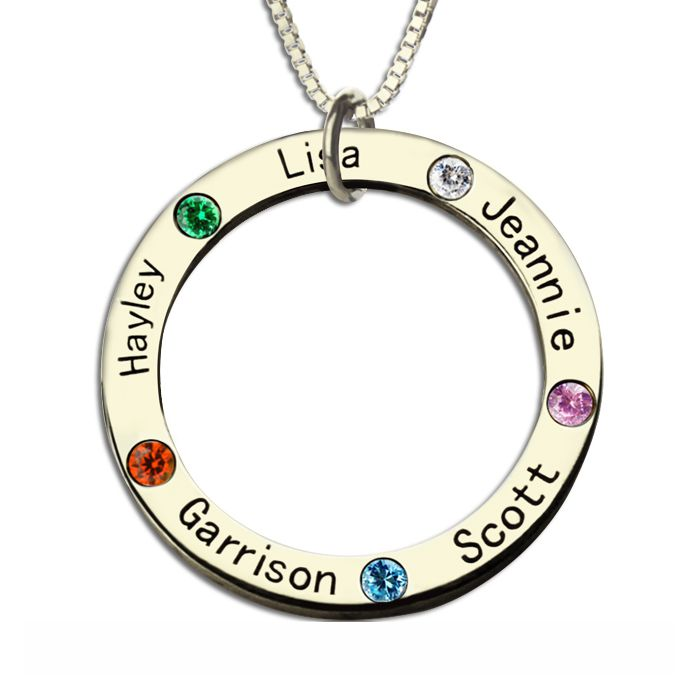 Mothers Family Circle Name Necklace