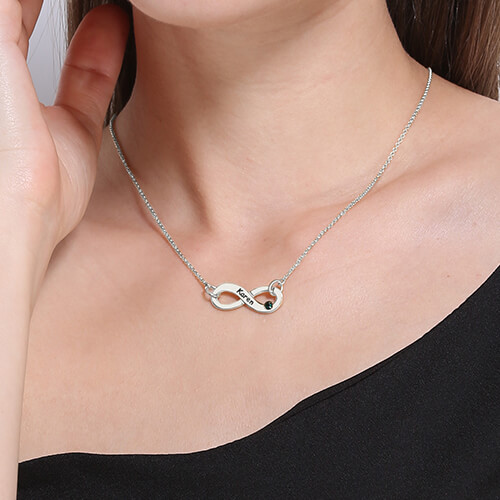 Personalized Silver Infinity Birthstone Necklace