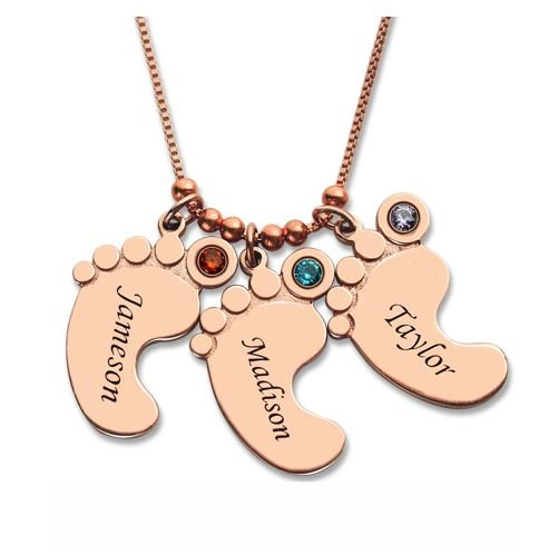 Mother Pendant Baby Feet Necklace - Rose Gold