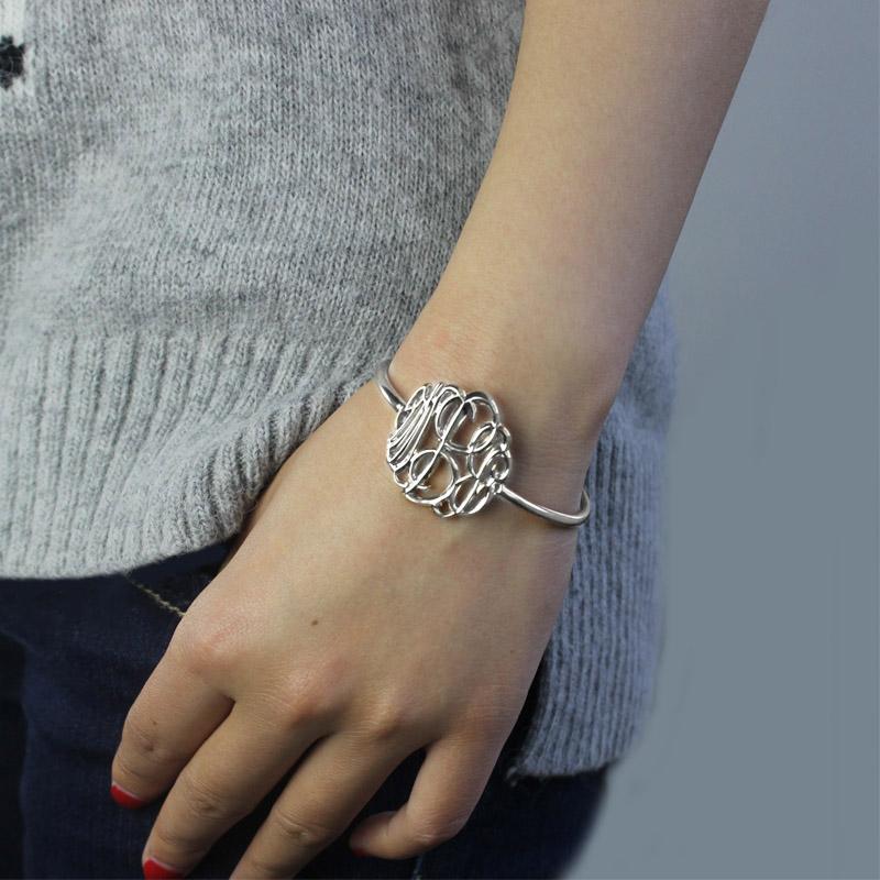 Monogram Bangle Bracelet Hand-painted Silver