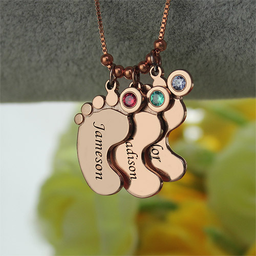 Mother Pendant Baby Feet Necklace In Rose Gold