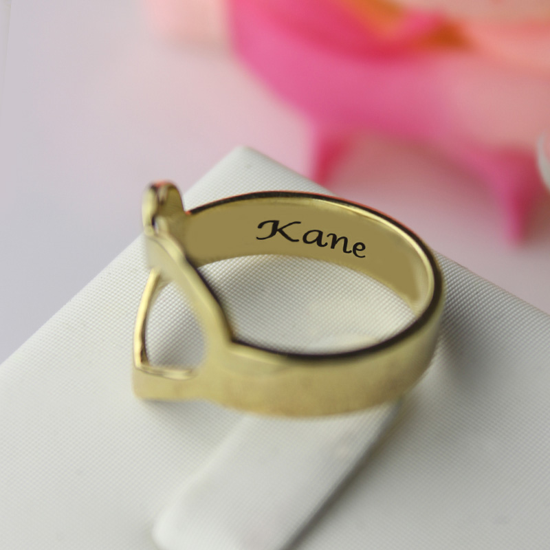 Couple's Promise Ring With Name Gold Plated Silver