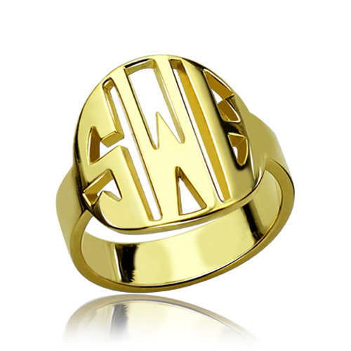 Personalized Monogram Ring - Gold Plated