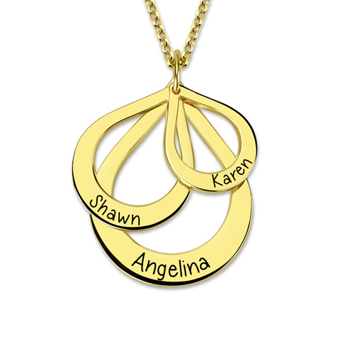 Drop Shaped Necklace Gold Plated