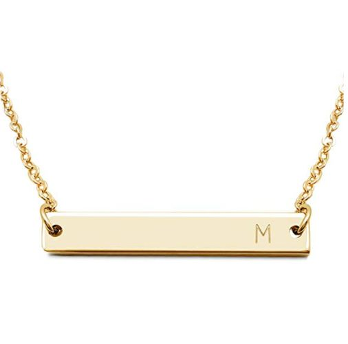 Engraved Name Bar Necklace Gold Plated