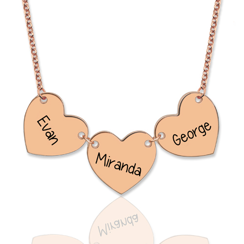 Custom Engraved Heart Necklace In Rose Gold