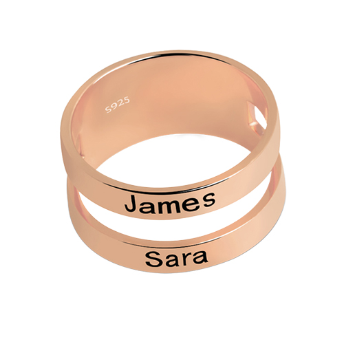 Customized Mother's Engraved Two Names Ring