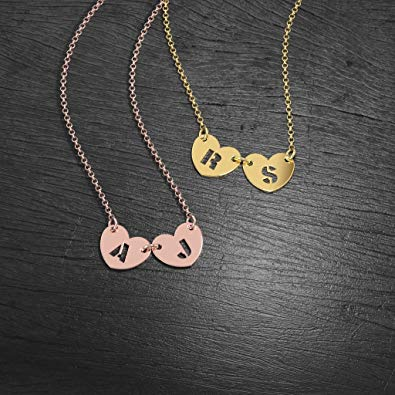Initial Two Hearts Forever Necklace 18k Gold Plated